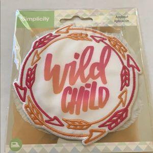 3/$10 NWT iron on patch wild child